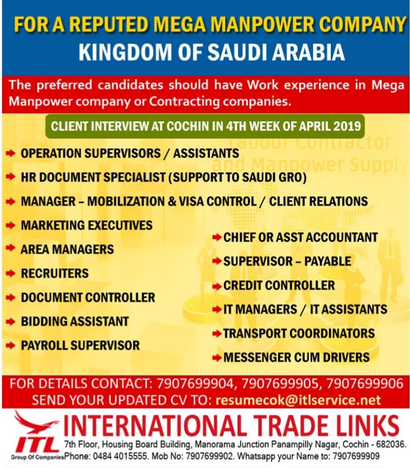 GULF VACANCIES 18-4-2019 – GCC JOBS FOR YOU