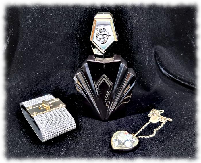 Passion bottle,diamante bracelet and a heart-shaped diamond necklace