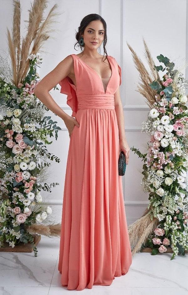 vestido longo coral fluido