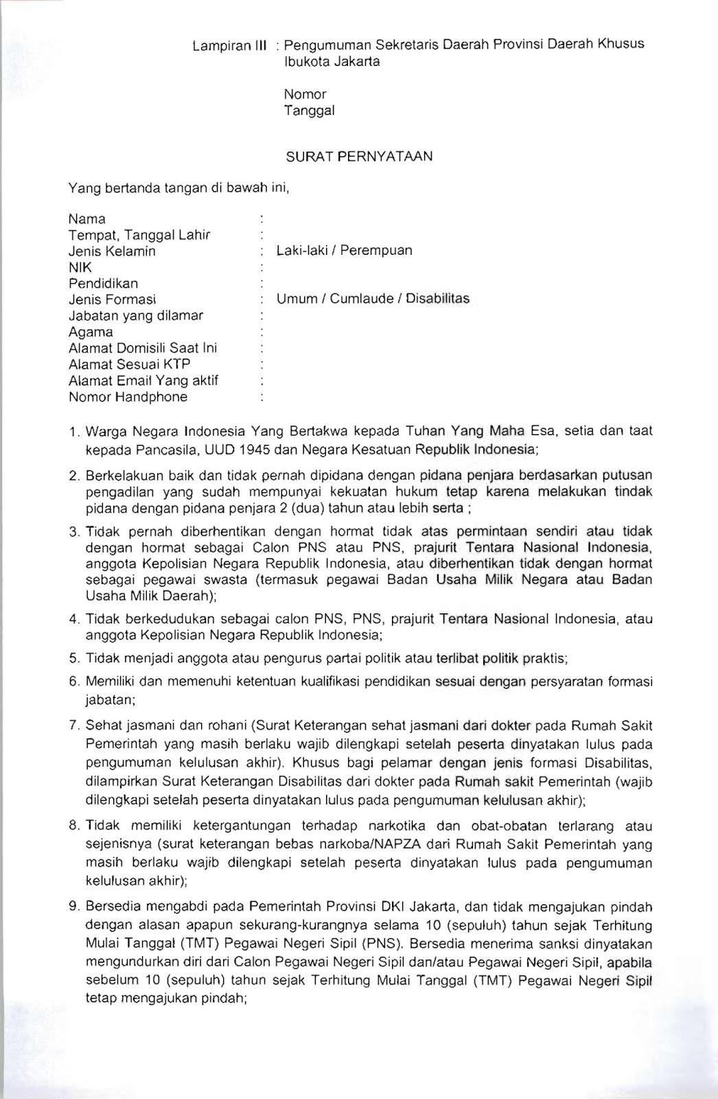 Format Surat Lamaran Dan Surat Pernyataan Cpns Dki Jakarta Tahun 2019 Rekrutmen Lowongan Kerja Bulan Januari 2021