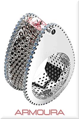 ♦Armoura Chasm ring in platinum with pink marquise diamond,  brown diamonds and aquamarines #jewelry #armoura #brilliantluxury