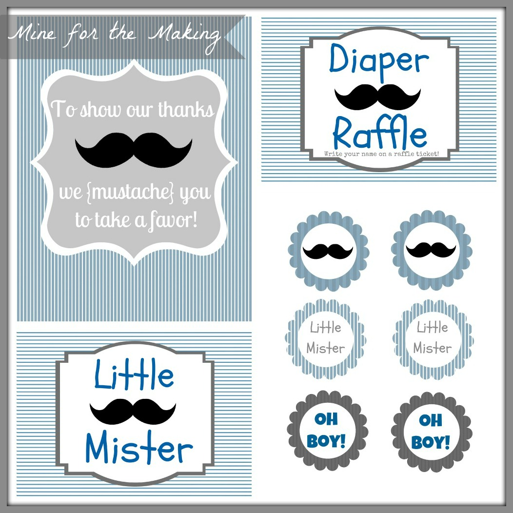 Little Mister Mustache Bash Party Prints