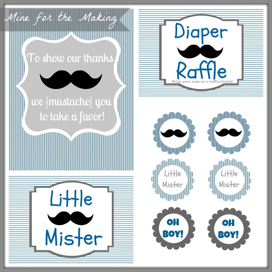Little Mister Mustache Bash Party Prints