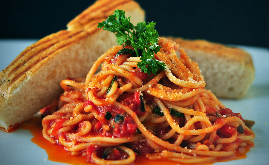 Pasta and sauce on a plate