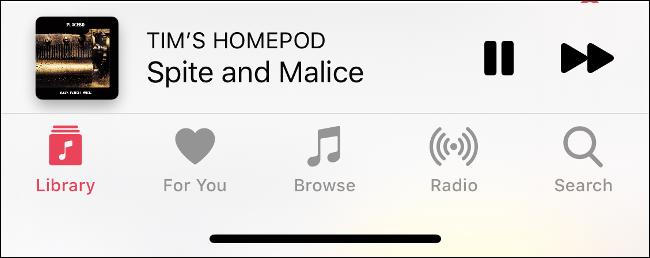 """قسم """"التشغيل الآن"""" في تطبيق الموسيقى."""