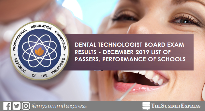 FULL RESULTS: December 2019 Dental Technologist board exam list of passers