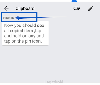 Gboard clipboard pin