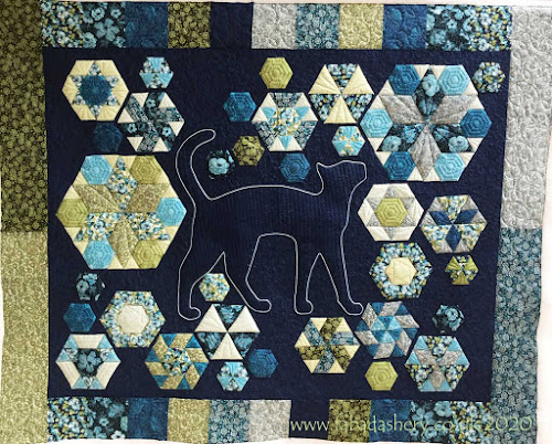 Blue Cat Quilt made by Clementina, custom quilted by Frances Meredith