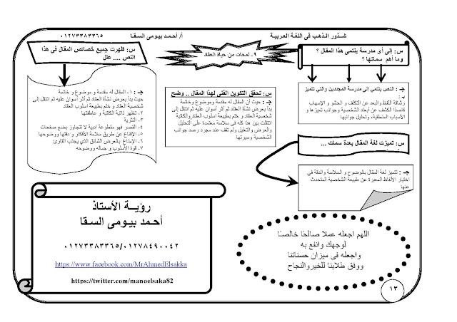 شرح + التوقعات المرئية في النصوص اللغة العربية الثانوية العامة