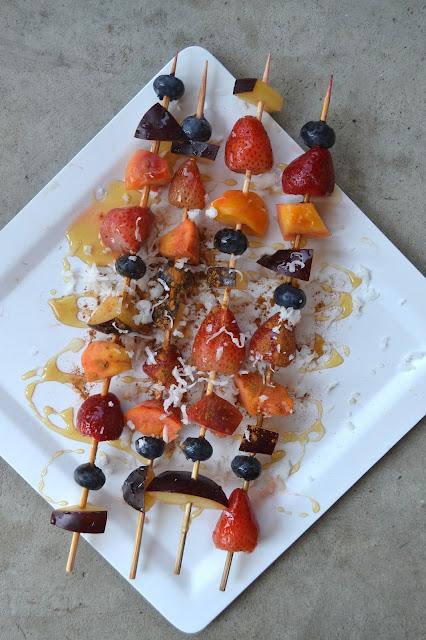 Grilled Honey Coconut Fruit Kebabs