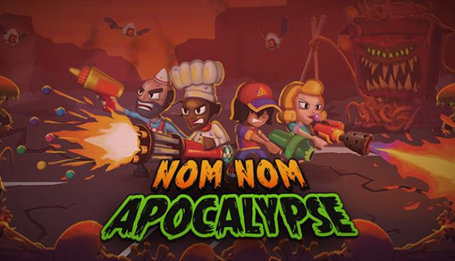 Nom Nom Apocalypse an adventure horror shooter with a top view, made in the style of «roguelite».