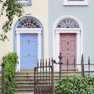 Pastel Dublin doors on Sandymount Strand