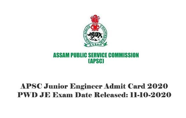 APSC Junior Engineer Admit Card 2020: PWD JE Exam Date Released: 11-10-2020