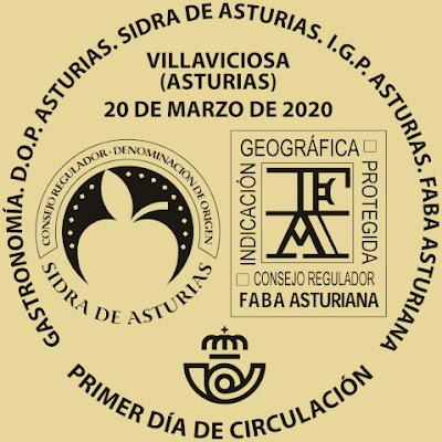 matasellos, filatelia, hoja bloque, sello, faba, sidra, fabada, Asturias