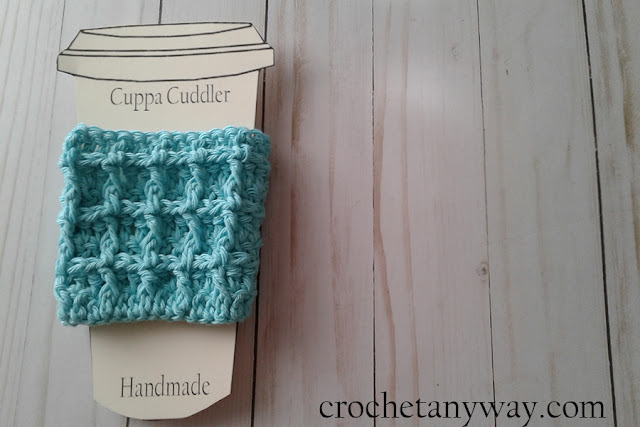 green waffle coffee cup sleeve, crocheted