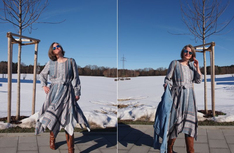 Kleid mit Foulard-Druck. Scarf-Pattern-Print-Dress.
