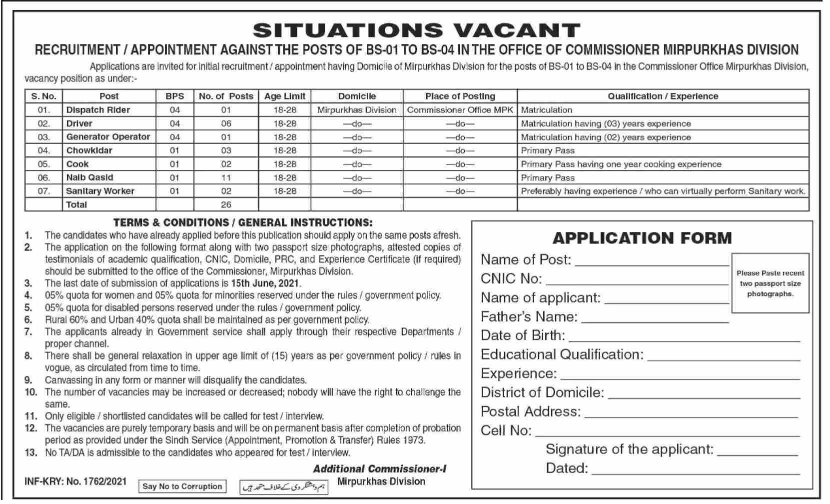 Office of The Commissioner Jobs 2021 in Pakistan