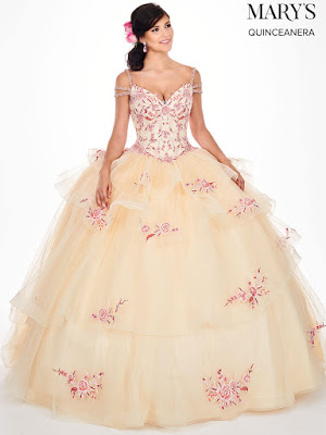 Mary's Quinceanera Ball Gown Cold Shoulder Champagne/pink color dress