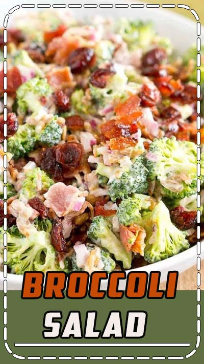 This Broccoli Salad is made with bits of salty bacon, tangy red onion, sweet craisins and crunchy sunflower seeds. Perfect for potlucks and so delicious! #glutenfree #grainfree #healthy #potluck #salad #memorialday #bbq #grilling