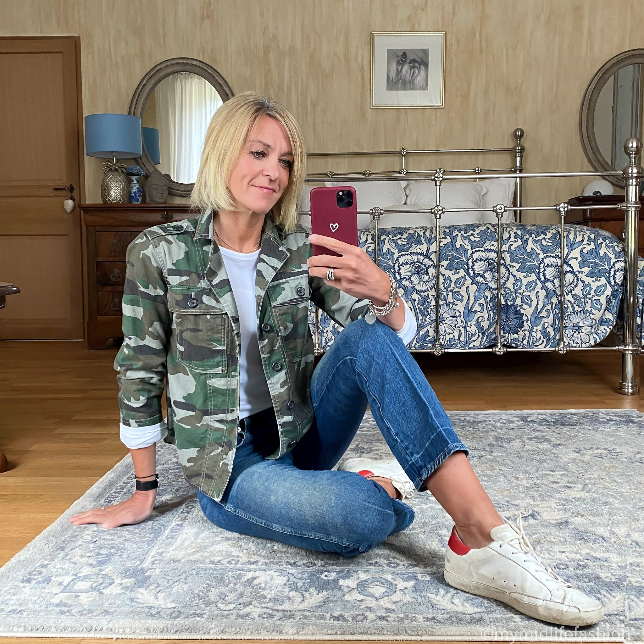 my midlife fashion, j crew cropped camouflage jacket, marks and Spencer crew neck long sleeve t shirt, j crew cropped kick flare jeans, golden goose superstar low top leather trainers
