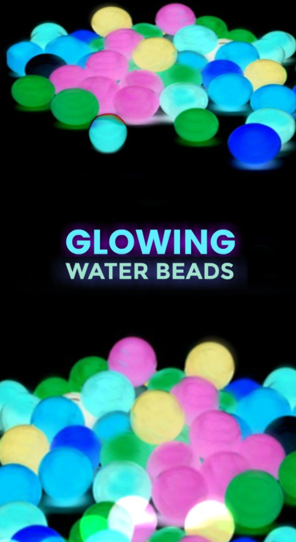 FUN KID PROJECT:  Make rainbow water beads that glow in the dark! #waterbeads #waterbeadactivities #waterbeadsideas #waterbeadssensory #glowingwaterbeads #howtomakewaterbeads #neonwaterbeads #growingajeweledrose