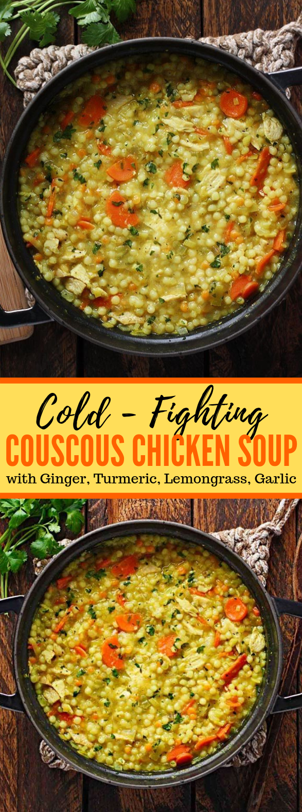 COLD-FIGHTING COUSCOUS CHICKEN SOUP #healthysoup #comfortfood