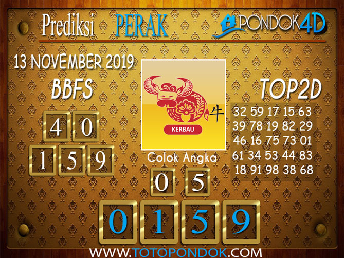 Prediksi Togel PERAK PONDOK4D 13 NOVEMBER 2019