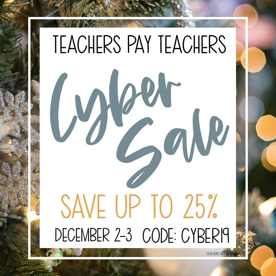 Take advantage of the TeachersPayTeachers sale on 12/2/19 & 12/3/19 to save up to 25% with promo code CYBER19! | The ESL Nexus