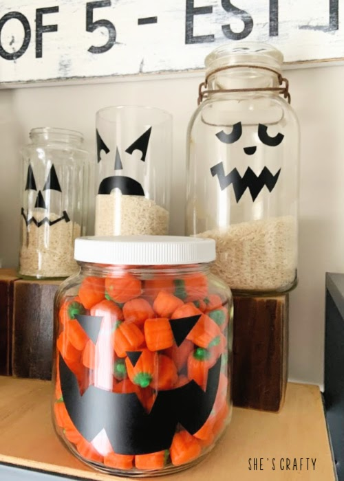 Pumpkin face candy jars - farmhouse Halloween