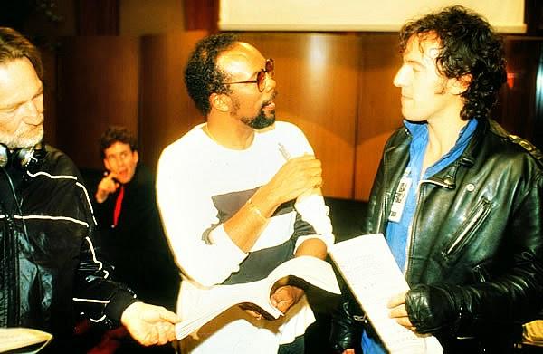"""Willie Nelson, Quincy Jones e Bruce Springsteen nas gravações de """"We Are the World"""""""