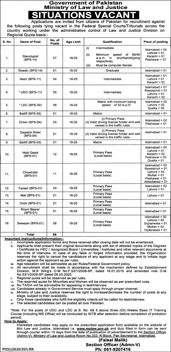Ministry of Law and Justice MOLAW Jobs