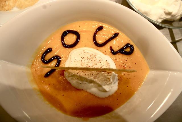 Butternut squash 'cappuccino' with nutmeg foam