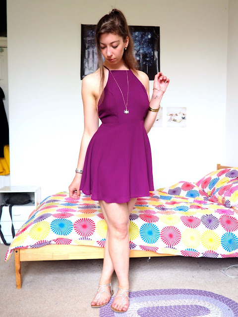 Disneybound outfit as Meg from Hercules - short, bright purple, backless dress, silver sandals & gold jewellery