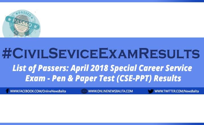 April 2018 Civil Service Exam Results CSE-PPT - Region 4