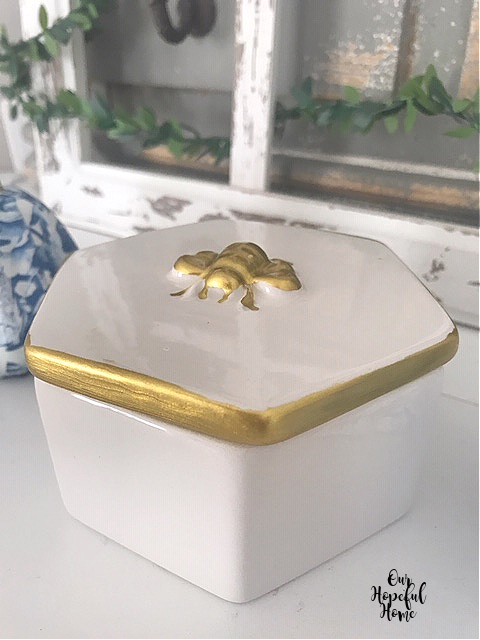gold bee porcelain trinket box