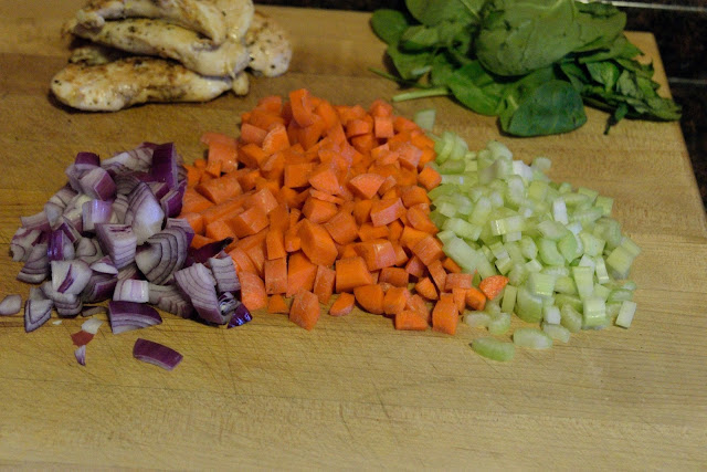 All of the vegetables chopped and ready to be added to the pot.