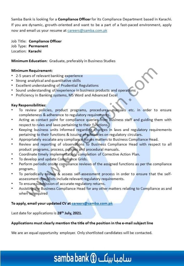 Samba Bank Ltd Jobs Compliance Officer