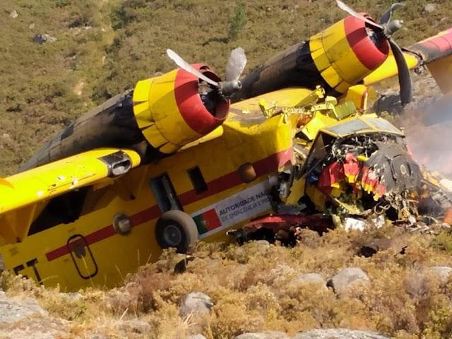 Avião de combate a incêndios despenha-se no Gêres