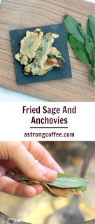 deep fried sage and anchovies from a tuscan dinner party menu