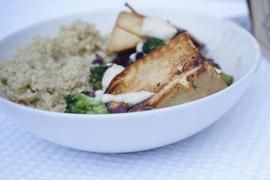 Veggie Stir-Fry With Tofu Wedges, Quinoa and Tahini Sauce