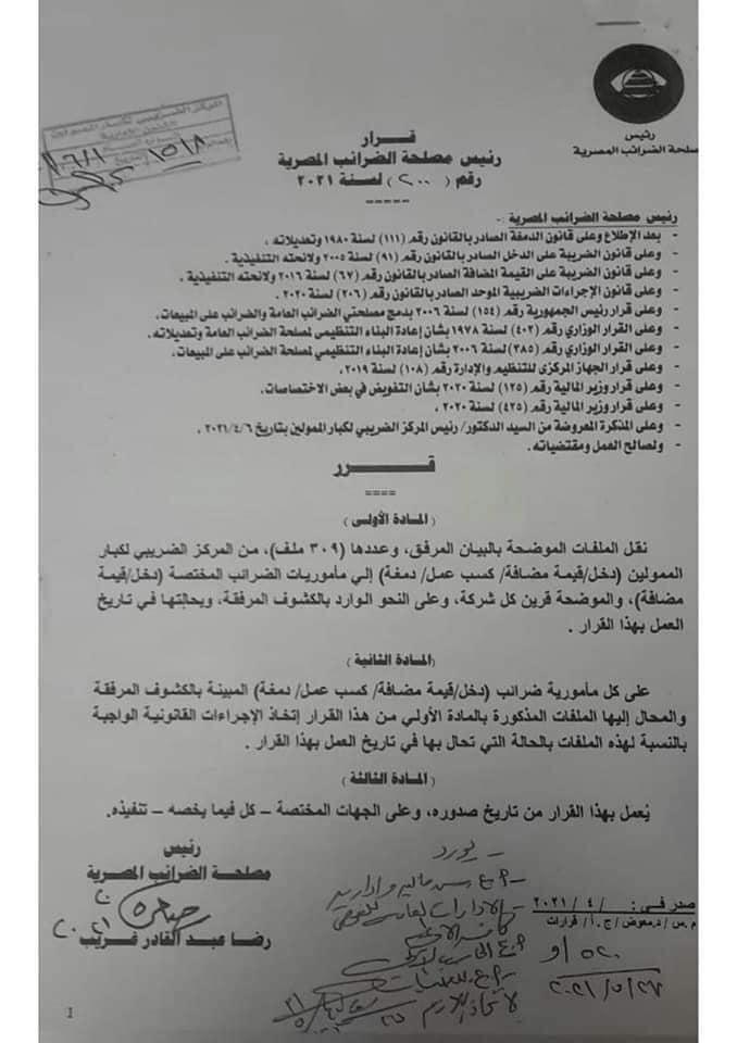 قرار رئيس مصلحة الضرائب المصرية رقم ٢٠٥ لسنة ٢٠٢١ م