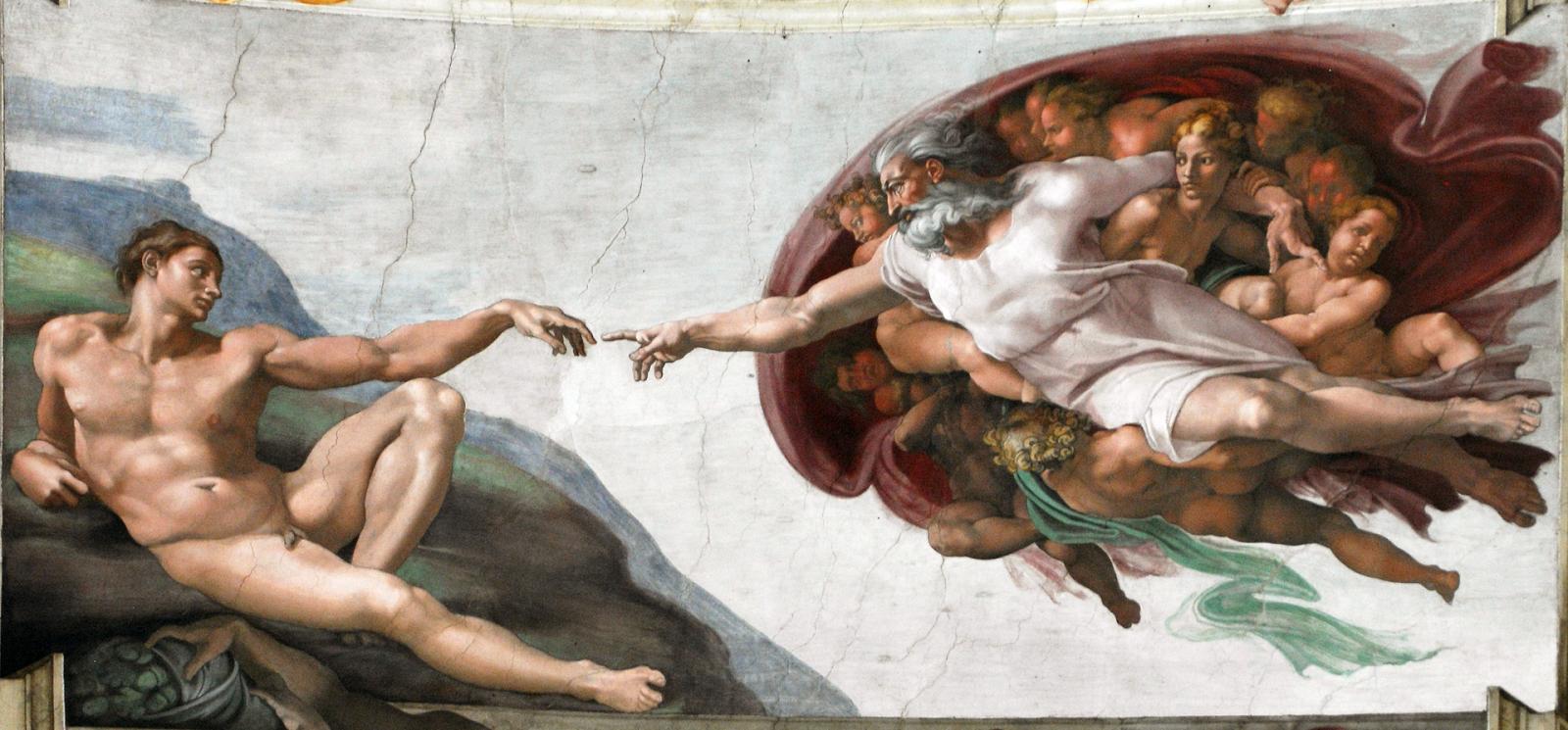 A Criação de Adão - Pinturas com temas tirado da bíblia