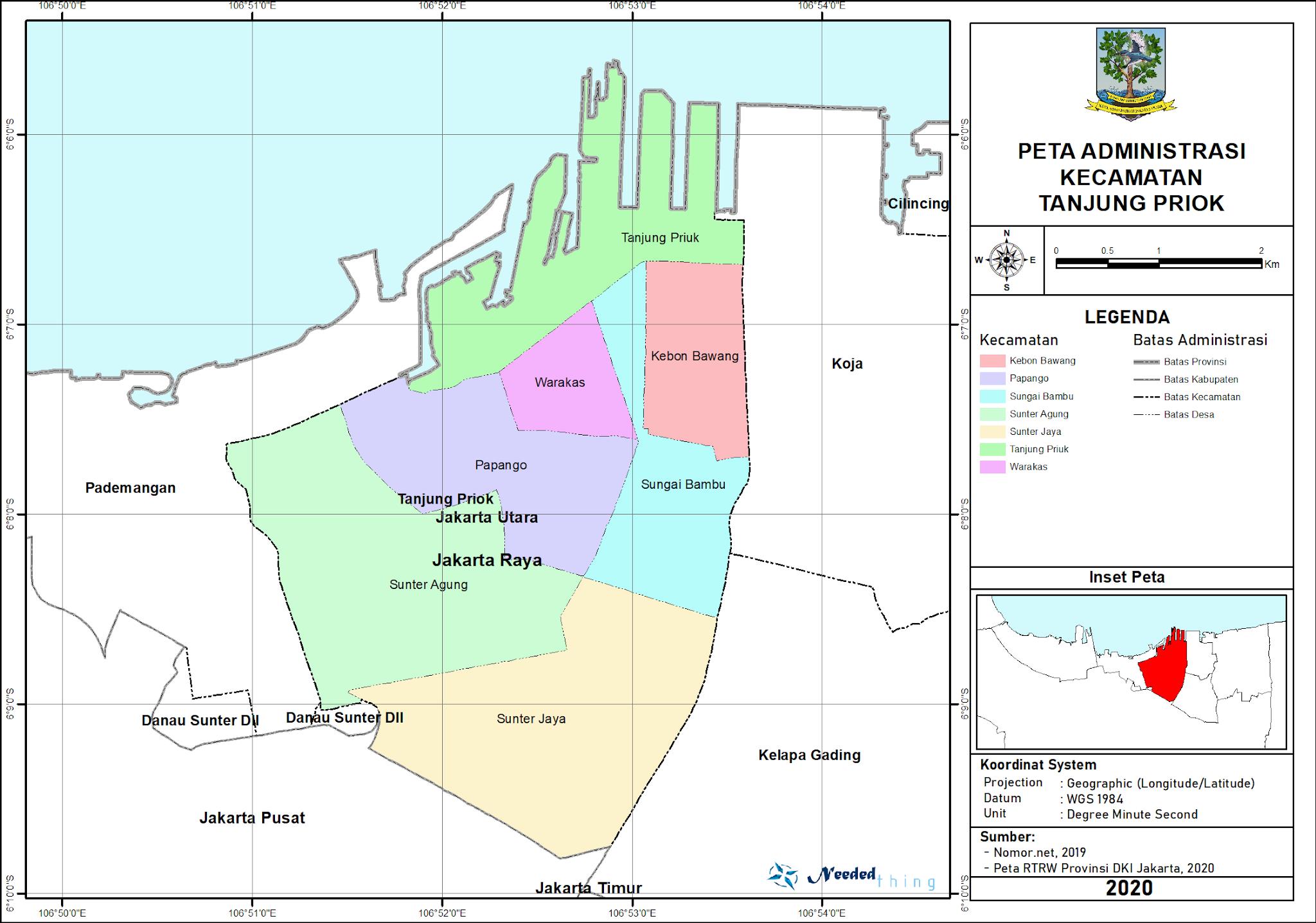 Peta Administrasi Kecamatan Tanjung Priok, Kota Jakarta ...
