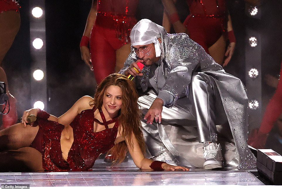 Shakira was joined by Puerto Rican rapper Bad Bunny