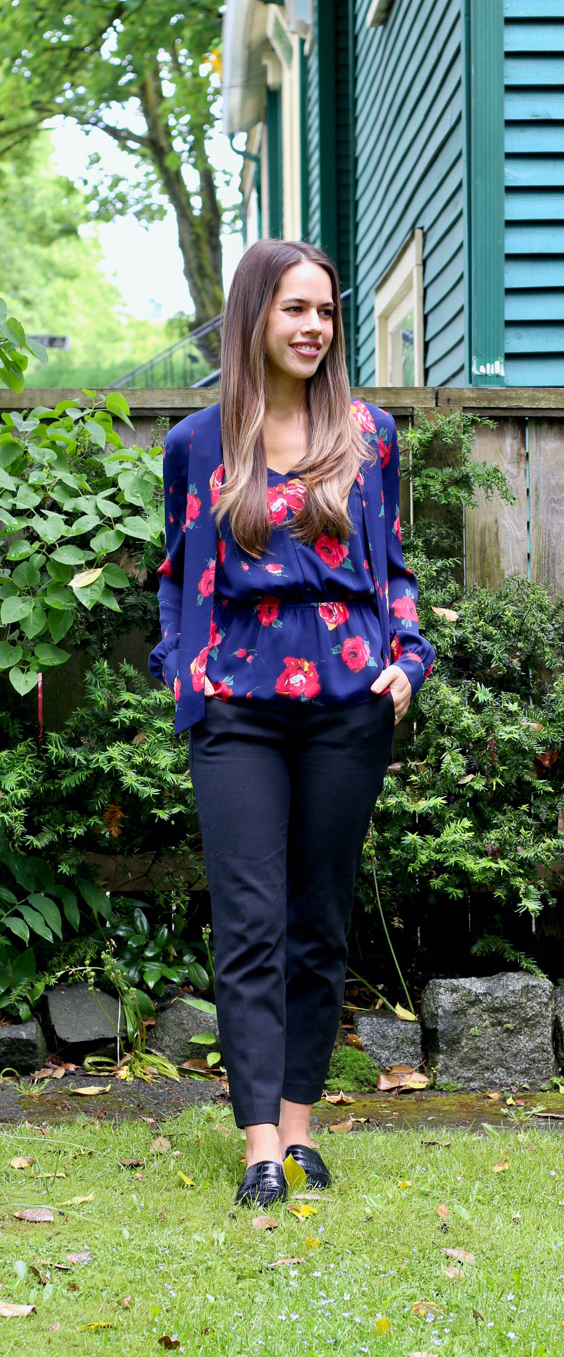 Jules in Flats - Tie Neck Floral Peplum Blouse (Business Casual Workwear on a Budget)