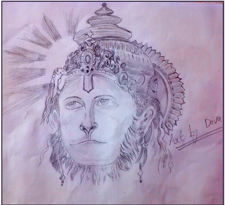 hanumanji drawing,Sketch of Lord Hanuman,drawing of hanuman,hanuman drawing