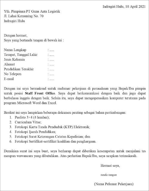 Contoh Surat Lamaran Kerja Untuk Staff Front Office (Fresh Graduate)