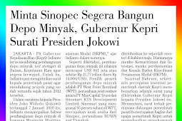 Ask Sinopec to Immediately Build Oil Depot, Riau Islands Governor Surati President Jokowi