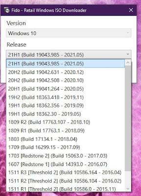 Ahora tienes un cuadro desplegable para seleccionar la versión de Windows 10 u 8.1 que desees.