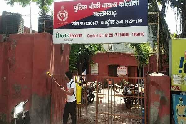 faridabad-ballabhgarh-chawla-colony-police-chowki-sanitize-news
